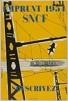 Etienne Bucher (born in 1921) and Huguette Bucher Cromières. Propaganda poster for the 1954 loan for the SNCF, French national railway company. Lithograph, 1954. Paris, Bibliothèque Forney. © Bibliothèque Forney / Roger-Viollet