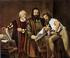 Johannes Gutenberg (1397 à 1400-1468), imprimeur allemand et sa presse à imprimer. © Roger-Viollet
