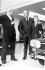 Le prince Rainier III de Monaco (1923-2005) et son fils le prince Albert (né en 1958), lors d'une exposition de voitures. Londres (Angleterre), Berkeley Square, 10 avril 1969. © TopFoto / Roger-Viollet