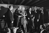 Johnny Hallyday (1943-2017), acteur et chanteur français, Sylvie Vartan (née en 1944), chanteuse française, et Marcel Achard (1899-1974), auteur dramatique français. © Jacques Cuinières/Roger-Viollet