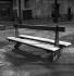 Banc sous la neige. Paris, square de l'Institut, rue de Seine. Mars 1949.      © Roger-Viollet