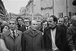 Manifestation de la Gauche Unie. Robert Fabre, François Mitterrand et Georges Marchais. Derrière : Pierre Joxe, Pierre Mauroy et Charles Hernu. Paris, 1976. © Jacques Cuinières / Roger-Viollet