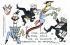 Caricature sur Emile Loubet (1838-1929), homme d'Etat français. Général André, Loubet et le roi Victor-Emmanuel III d'Italie. Carte postale humoristique, avant 1903. © Roger-Viollet