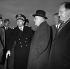 John Foster Dulles (1888-1959), secrétaire d'Etat américain, arrivant à la base américaine, en compagnie de C. Douglas Dillon, ambassadeur à Paris. Evreux (Haute-Normandie), décembre 1955. © Roger-Viollet