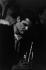 """Chet Baker (1929-1988), musicien de jazz américain, au """"Chat qui Pêche"""", rue de la Huchette. Paris (Vème arr.), avril-mai 1963. Photographie de Jean Marquis (né en 1926). © Jean Marquis/Roger-Viollet"""