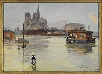 Albert Pierson (exhibited in the early 20th century). Notre Dame de Paris Cathedral seen from the quai de la Tournelle during the 1910 Great Flood, on January 30, 1910. Oil on canvas. Paris, musée Carnavalet. © Musée Carnavalet / Roger-Viollet
