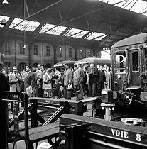Strike of the SNCF, French railway company. Paris, gare Saint-Lazare, on September 20, 1955. © Roger-Viollet