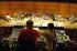 Karlheinz  Stockhausen (1928-2007), compositeur et chef d'orchestre allemand, lors d'une répétition de l'orchestre philharmonique de Cologne (Allemagne), 14 février 2003.  © Ullstein Bild/Roger-Viollet