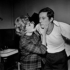 """Loin de Rueil"" de Raymond Queneau. Musique : Maurice Jarre. Rosy Varte, Jean Rochefort. Paris, T.N.P., novembre 1961. © Studio Lipnitzki/Roger-Viollet"