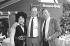 Yvette Horner (1922-2018) et Aimable, accordéonistes français. Paris, stade Roland-Garros, 2 juin 1986. © Carlos Gayoso / Roger-Viollet