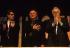Congrès de Rennes du parti socialiste. Xavier Emmanuelli, Oskar Lafontaine et Pierre Mauroy. 15-18 mars 1990. © Jean-Paul Guilloteau / Roger-Viollet