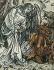 """Albrecht Dürer (1471-1528). Détail de """"L'Apocalypse de Saint-Jean"""". L'Ange enferme une nouvelle fois le Diable en Enfer. 1496-1498. Venise, Museo Correr. © Iberfoto / Roger-Viollet"""