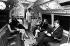 """Passagers à bord d'une navette d'exposition de la future ligne de métro """"Victoria Line"""". Londres (Angleterre), Design Centre, 20 août 1968. © TopFoto/Roger-Viollet"""