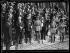 """""""La première journée de la Victoire"""", cérémonies du 14 juillet 1919, place de l'Hôtel de Ville. La tribune officielle, avec le président Poincaré et les maréchaux Joffre, Foch et Pétain. Paris (IVème arr.), 13 juillet 1919. © Excelsior – L'Equipe/Roger-Viollet"""