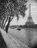 View of the Eiffel Tower from the banks of the river Seine. Paris (VIIth arrondissement). Photograph by René Giton (known as René-Jacques, 1908-2003). Bibliothèque historique de la Ville de Paris.  © René-Jacques / BHVP / Roger-Viollet