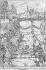 """Pêcheurs au pont des Arts pendant les basses eaux de la Seine à la suite de la rupture du barrage de Neuilly. Paris. Gravure d'après un dessin de Victor Geruzez, dit Crafty (1840-1906). """"Le Monde illustré"""", septembre 1868. © Roger-Viollet"""