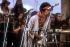 Jimi Hendrix se produisant au Festival de musique de Woodstock. 1969. Photo : Dan McCoy. © Dan McCoy / The Image Works / Roger-Viollet