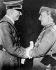Rencontre entre Adolf Hitler (1889-1945), homme d'Etat allemand et Francisco Franco Bahamonde (1892-1975), général espagnol. Hendaye (Pyrénées-Atlantiques), 23 octobre 1940.   © Roger-Viollet