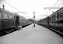 Transport strike of the SNCF, French railway company. Paris, on August 24, 1953. © Roger-Viollet