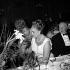 Line Renaud (née en 1928), actrice et chanteuse française, la Bégum (1906-2000) et Alfred Hitchkock (1899-1980), cinéaste américain. © Noa / Roger-Viollet