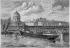 """Le """"Frigorifique"""", navire de l'ingénieur français Charles Tellier (1828-1913), échoué contre les piles du pont des Arts, à Paris, en 1879. Gravure d'après un dessin de Jules Després (XIXème siècle). © Roger-Viollet"""