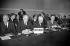 Réunion du Conseil de l'Atlantique Nord (OTAN) au Palais de Chaillot. John Foster Dulles (1888-1959), au centre de la délégation américaine. Paris, 14 décembre 1953.  © Roger-Viollet