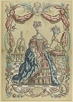 Anonymous. Portrait of Marie Antoinette, Queen of France - popular print by Mondhare. Coloured etching. Paris, musée Carnavalet. © Musée Carnavalet/Roger-Viollet