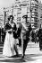"""La princesse Sophie de Grèce (née en 1938), et son époux le prince Juan Carlos (né en 1938), héritier du trône d'Espagne, lors du """"Jour des forces armées"""". Athènes (Grèce), 29 octobre 1962. © TopFoto/Roger-Viollet"""