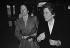 """Anne-Aymone Giscard d'Estaing et Françoise Giroud, alors secrétaire d'Etat à la condition féminine, à la tribune, pour """"l'année internationale de la Femme"""" décrétée par l'ONU. Paris (VIIIème arr.), Palais des Congrès, 8 mars 1975. © Jacques Cuinières/Roger-Viollet"""