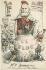 """""""Le Triomphe de la République"""". Le Bloc. Entente Cordiale. Caricature sur Emile Loubet (1838-1929), homme d'Etat français. Carte postale humoristique. © Roger-Viollet"""