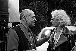 """Tournage de """"La Voie lactée"""" de Luis Buñuel. L. Buñel et Delphine Seyrig. 1968. Photographie de Georges Kelaidites (1932-2015). © Georges Kelaïditès / Roger-Viollet"""