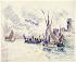 """Paul Signac (1863-1935). """"La Rochelle"""". Crayon noir et aquarelle sur papier beige, 1911. Musée des Beaux-Arts de la Ville de Paris, Petit Palais.  © Petit Palais / Roger-Viollet"""