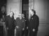 Le président Vincent Auriol recevant à l'Elysée les ministres américains John Foster Dulles et Harold Stassen. Au 2nd plan : l 'ambassadeur James Dunn. Paris, 2 février 1953.  © Roger-Viollet