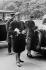 Paul Claudel (1868-1955), de retour des Etats-Unis et arrivant à l'hôtel Crillon avec sa fille, à la suite de sa nomination à l'ambassade de Bruxelles. Paris, 26 avril 1933. © Roger-Viollet