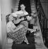 """Line Renaud (née en 1928), chanteuse et actrice française et """"Loulou"""" Gasté (1908-1995), musicien et compositeur français, à la Jonchère. Rueil-Malmaison (Hauts-de-Seine), vers 1955. © Gaston Paris / Roger-Viollet"""