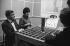 Claude Chabrol (1930-2010), réalisateur français, et Bernadette Lafont (1938-2013) actrice française, lors d'une interview pour la radio, avril 1959. © Bernard Lipnitzki / Roger-Viollet