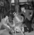 """Paul Meurisse, Danielle Darrieux et Noël-Noël pendant le tournage du film """"Le Septième ciel"""" de Raymond Bernard. France, 1957. © Alain Adler/Roger-Viollet"""