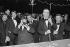 Marcel Dassault (1892-1986), Yvon Bourges (1921-2009), hommes politiques français, et Pozzo di Borgo, lors de la fête des établissements Dassault. © Jacques Cuinières / Roger-Viollet