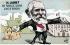 """""""M. Loubet est perplexe comme l'âne de Buridan"""". Caricature sur Emile Loubet (1838-1929), homme d'Etat français. Carte postale humoristique. 1905. © Roger-Viollet"""