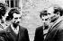 Guerre 1939-1945. Résistance. Missak Manouchian (deuxième à gauche) et deux membres de son groupe de résistance, Wasjbrot et Boczov, photographiés par la propagande allemande, peu de temps avant leur exécution, en février 1944. © Roger-Viollet