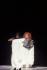 """""""Casse-Noisette"""", chorégraphie de Maurice Béjart. Musique : Piotr Ilitch Tchaikovski. Composition originale : Yvette Horner. Costumes : Anna de Giorgi. Costume d'Yvette Horner de Jean-Paul Gaultier. Lumières de Clément Cayrol. Teatro Regio. Interprète : Yvette Horner et Gil Roman. Compagnie Béjart Ballet Lausanne. Paris, Théâtre du Châtelet, décembre 1999. © Colette Masson / Roger-Viollet"""