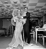 Yves Saint Laurent (1936-2008), couturier français et Tessa Beaumont, danseuse française, chez Dior. Septembre 1959.   © Boris Lipnitzki / Roger-Viollet