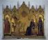 """Simone Martini (1284-1344) et Lippo Memmi (1317-v.1350). """"Annonciation"""". Peinture sur bois sur une base dorée, 1333. Florence (Italie), galerie des Offices. © Alinari/Roger-Viollet"""
