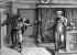 """Nicolaus Béatrizet (1515-v.1565) d'après Michel-Ange (1475-1564). """"Annonciation"""". Gravure. Paris, B.N.F. © Roger-Viollet"""