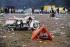 Festival de Woodstock. Jeune homme fumant dans sa tente. Bethel (Etats-Unis), août 1969.  © John Dominis/The Image Works/Roger-Viollet