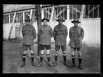 "World War One. Rugby game between New Zealanders and the French army. The British players: Murray, Fogasty, Wilson and Ryan. Paris, Parc des Princes stadium, on February 17, 1918. Photograph published in the newspaper ""Excelsior"", on February 18, 1918. © Excelsior – L'Equipe/Roger-Viollet"