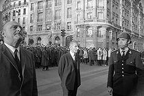 """Events of May-June 1968. Maurice Grimaud (1913-2009), French Prefect of Police of Paris, during the student demonstrations in the Latin Quarter. Paris, on May 7, 1968. Photograph by Bernard Charlet, Daniel Lapied, Michel Pansu and Claude Poensin-Burat, from the collections of the French newspaper """"France-Soir"""". Bibliothèque historique de la Ville de Paris. © Charlet, Lapied, Pansu, Poensin-Burat / Fonds France-Soir / BHVP / Roger-Viollet"""