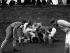 Mêlée pendant un match de l'Eton Wall Game, sport uniquement pratiqué au collège d'Eton, aux environs de Windsor (Angleterre), 30 novembre 1949. © PA Archive/Roger-Viollet