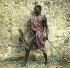Nubien paré pour le combat (Haute-Egypte), vers 1880. Détail d'une vue stéréoscopique colorisée. © Léon et Lévy / Roger-Viollet