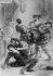 """""""Hamlet"""" de William Shakespeare (scène finale : """"Ah! je meurs Horatio!...""""). Lithographie de Villain d'après Eugène Delacroix, 1843. B.N.F. © Roger-Viollet"""